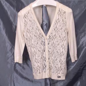 Sweaters - Lace Front Button Up Cardigan